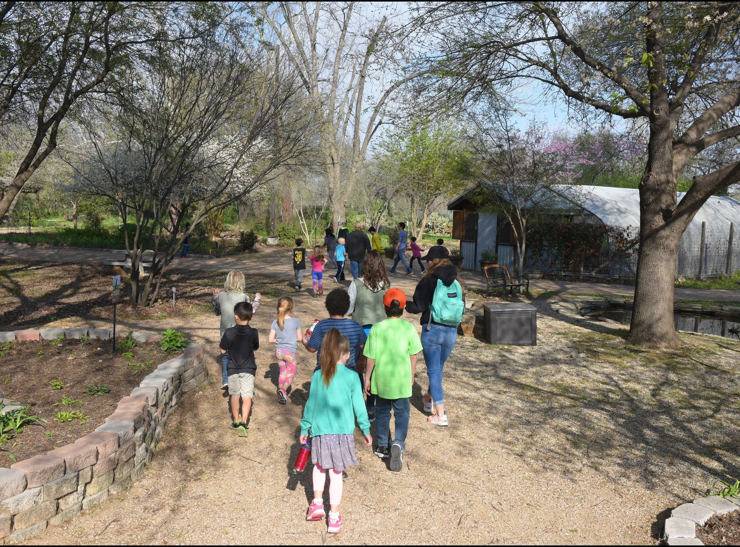 Photo of children walking behind camp leader at the San Marcos Discovery Center on a sand and rock t