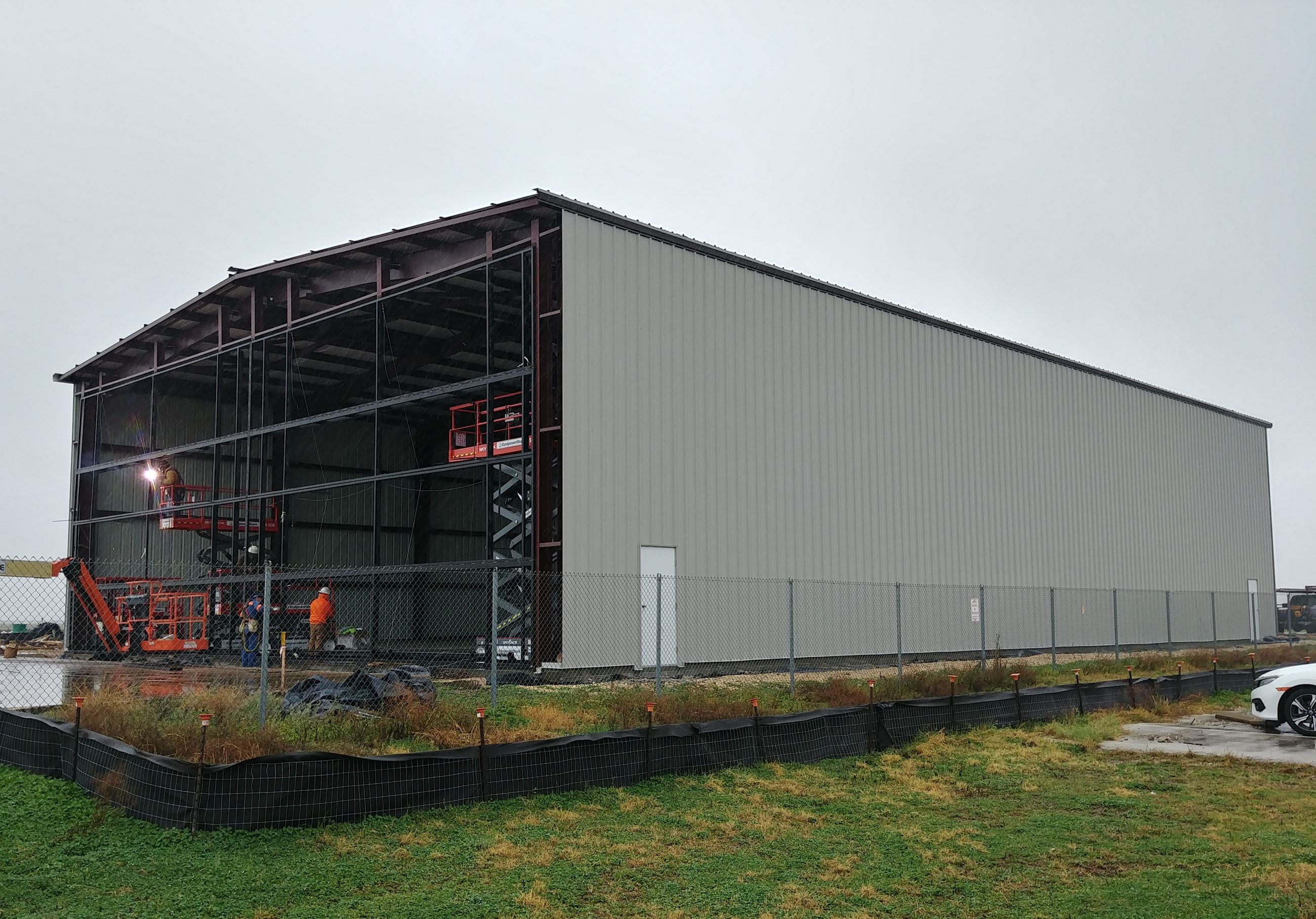 Exterior walls of hanger in construction