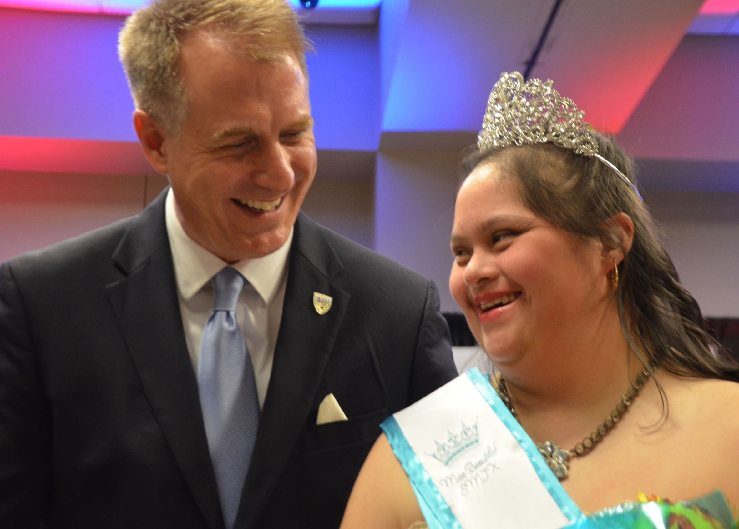 Former and Pageant emcee Mayor John Thomaides with Miss Beautful SMTX 2019 Elsa Sanchez