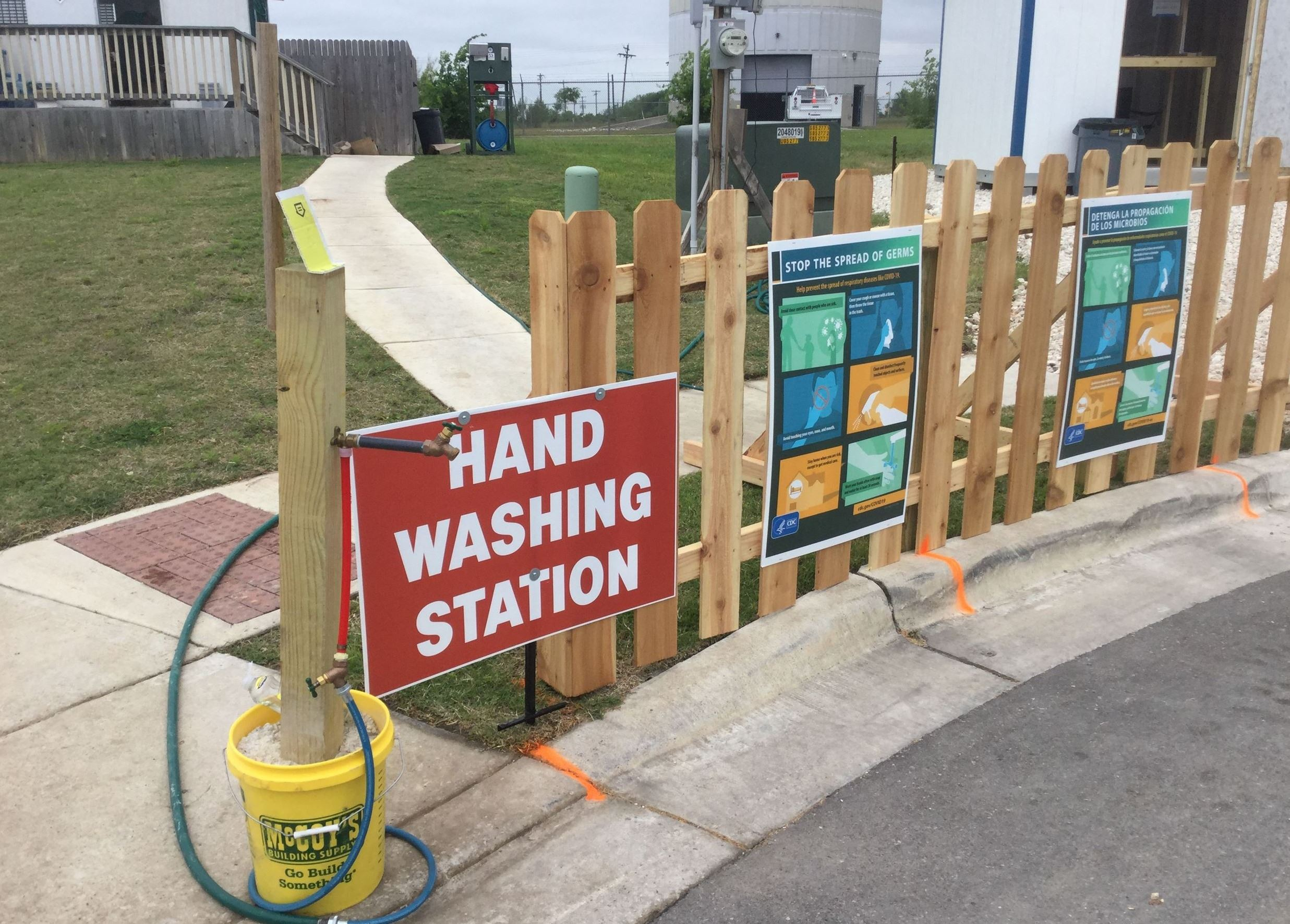 Photo of hand-washing station at a construction jobsite