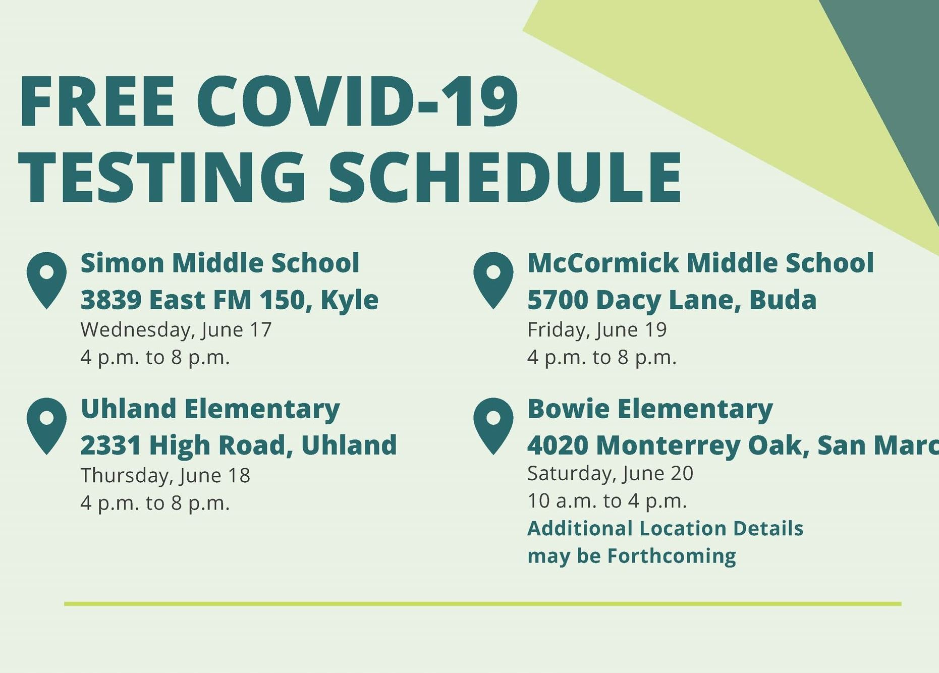 COVID-19 Testing Schedule Final Graphic with location/time details