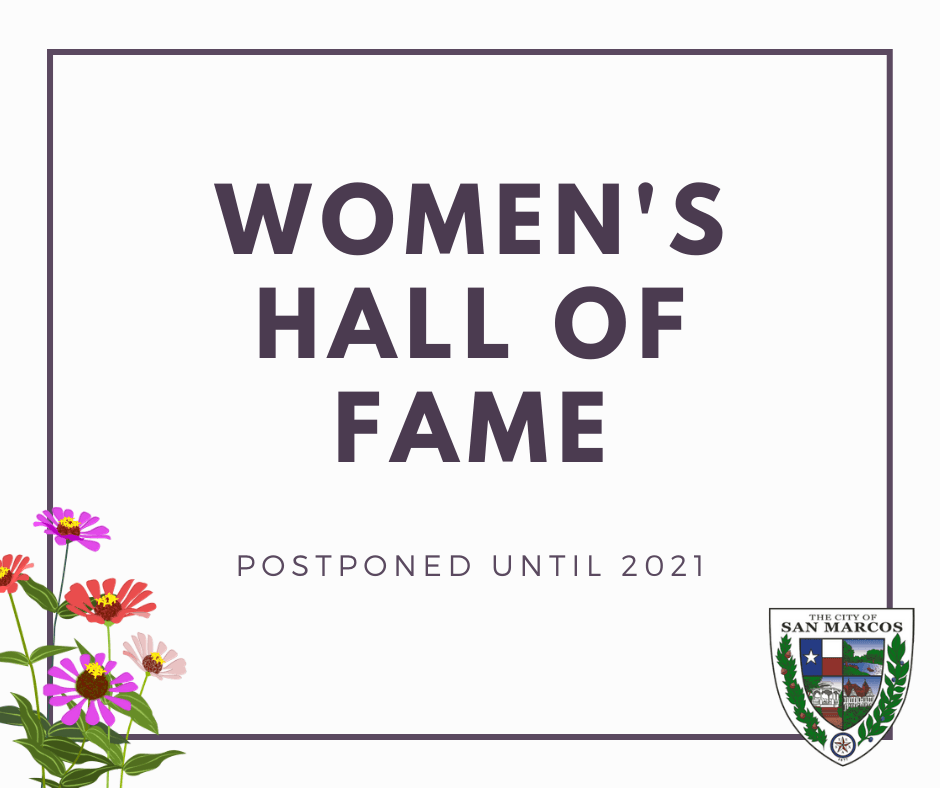 Womens Hall of Fame with flowers in bottom left corner and city seal in bottom right corner