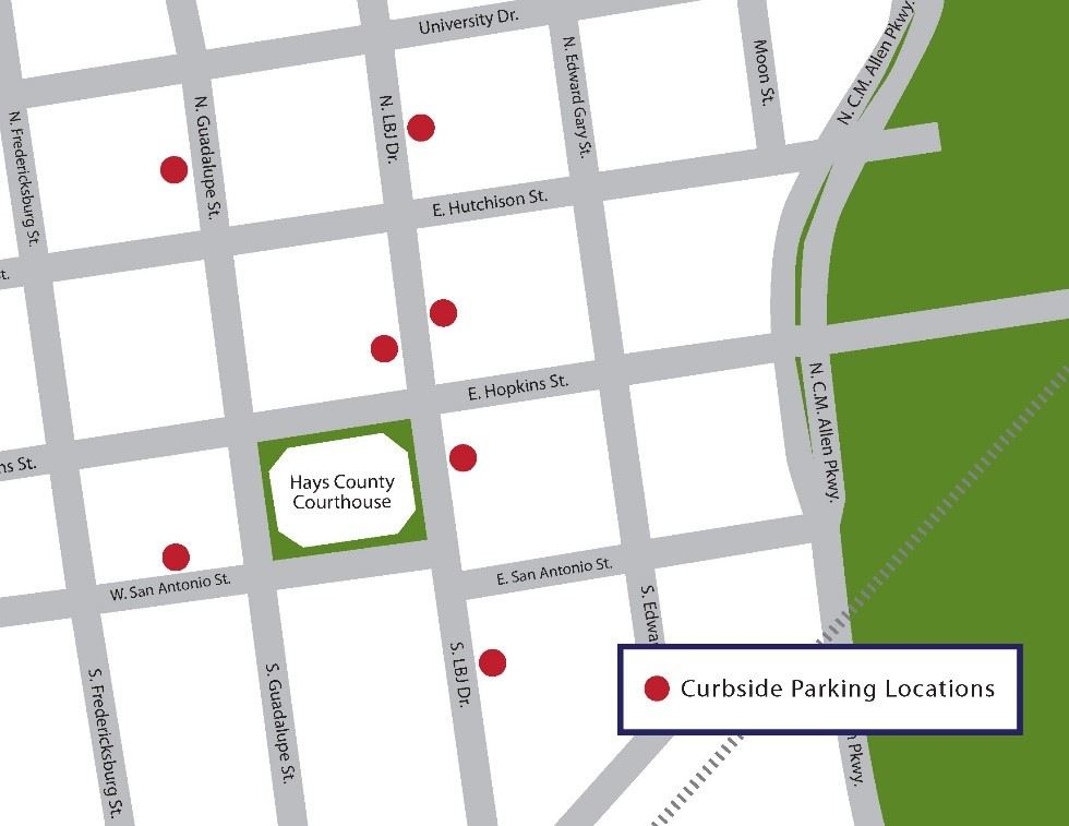 A map showing the areas of curbside parking