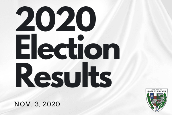 2020 Election Results announcement with City of San Marcos Logo