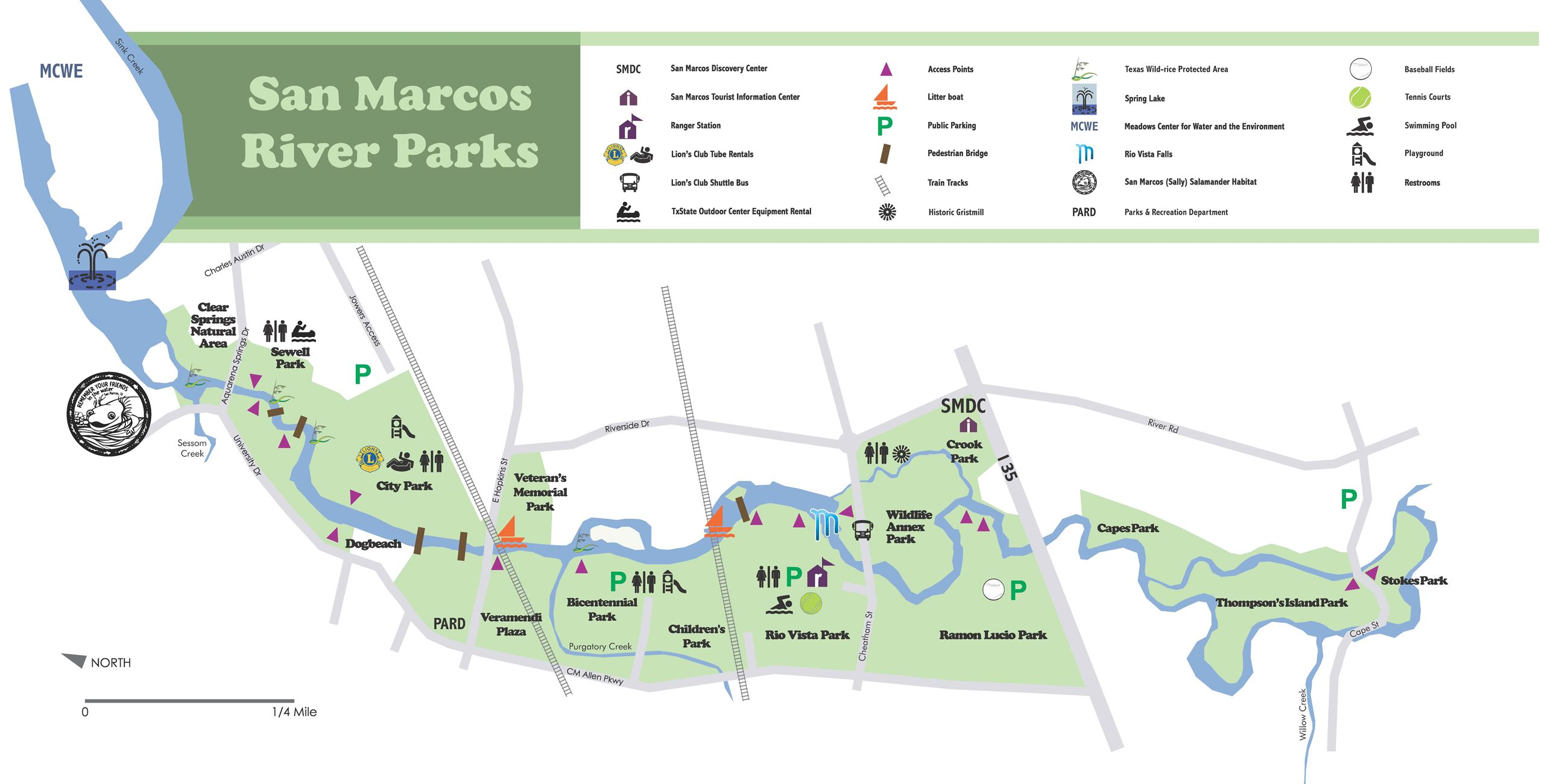 MAP OF RIVERFRONT PARKS (San Marcos River)