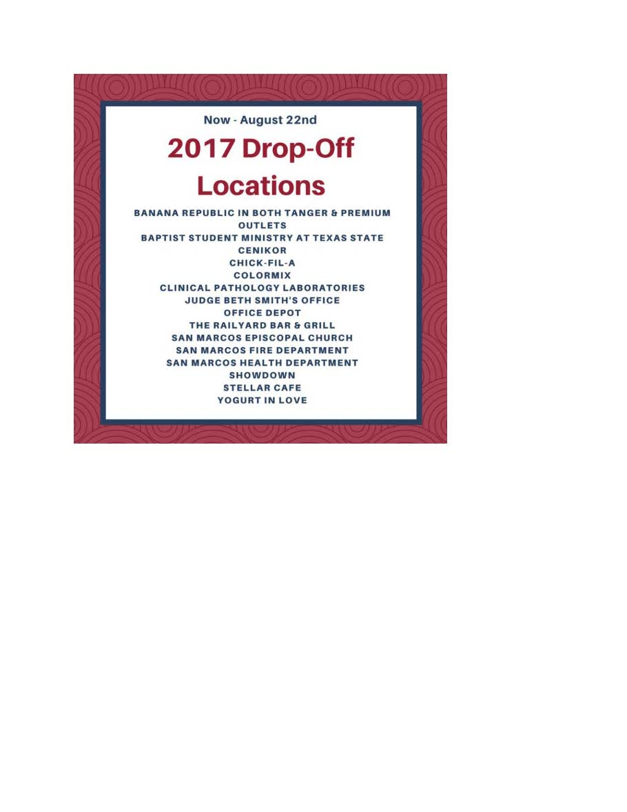 School Supply Drive Locations