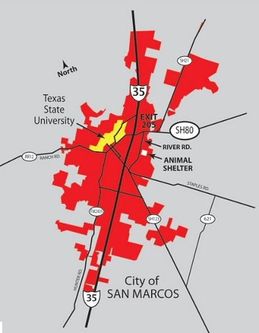 Map of City of San Marcos with Animal Shelter