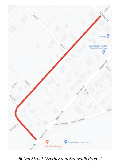 A map of Belvin Street and the route of maintenance