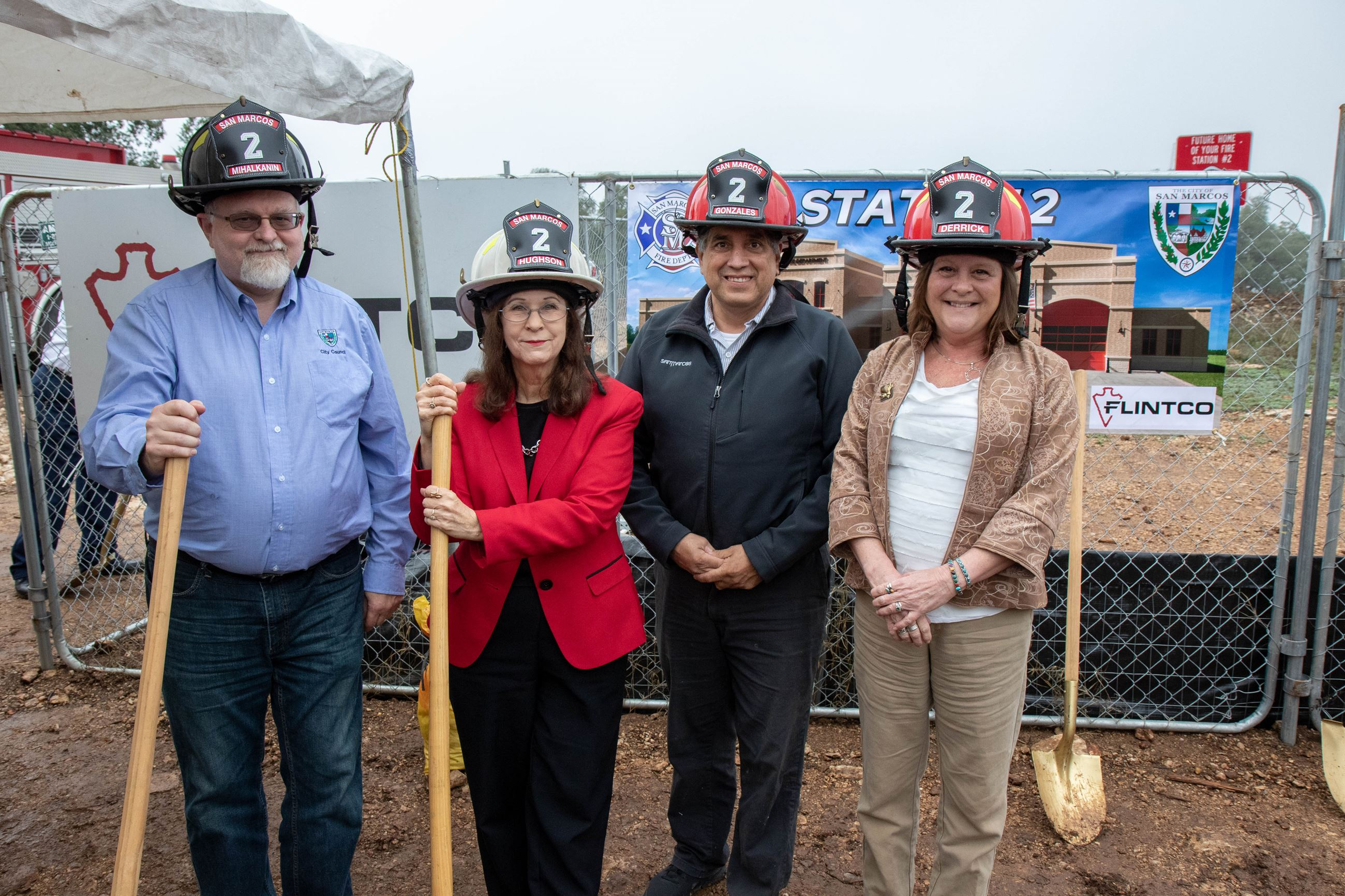 Fire House Groundbreaking-Helmets and Shovels