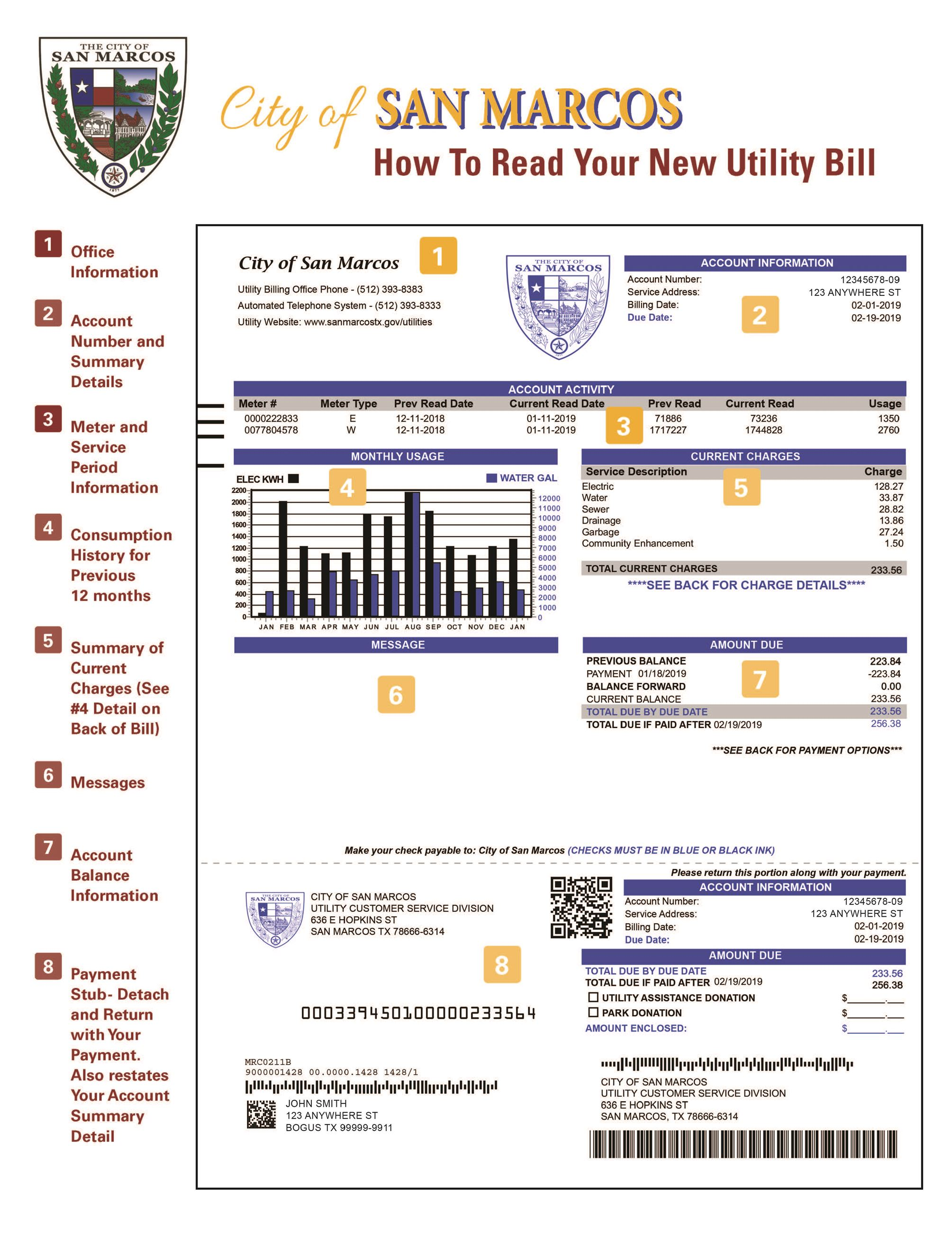 City of San Marcos Utility How To Read Your Bill 2019 Page 1