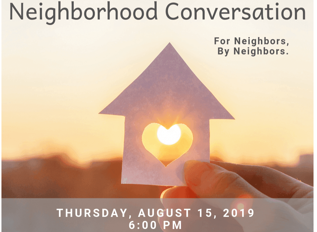 Neighborhood Conversation graphic featuring a hand holding heart art with text about event