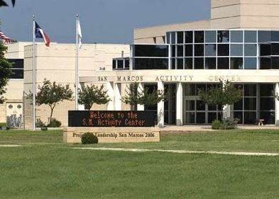 Photo of the front of the building of the San Marcos Activity Center