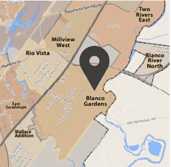A map pointing out the location of the Blanco Gardens neighborhood