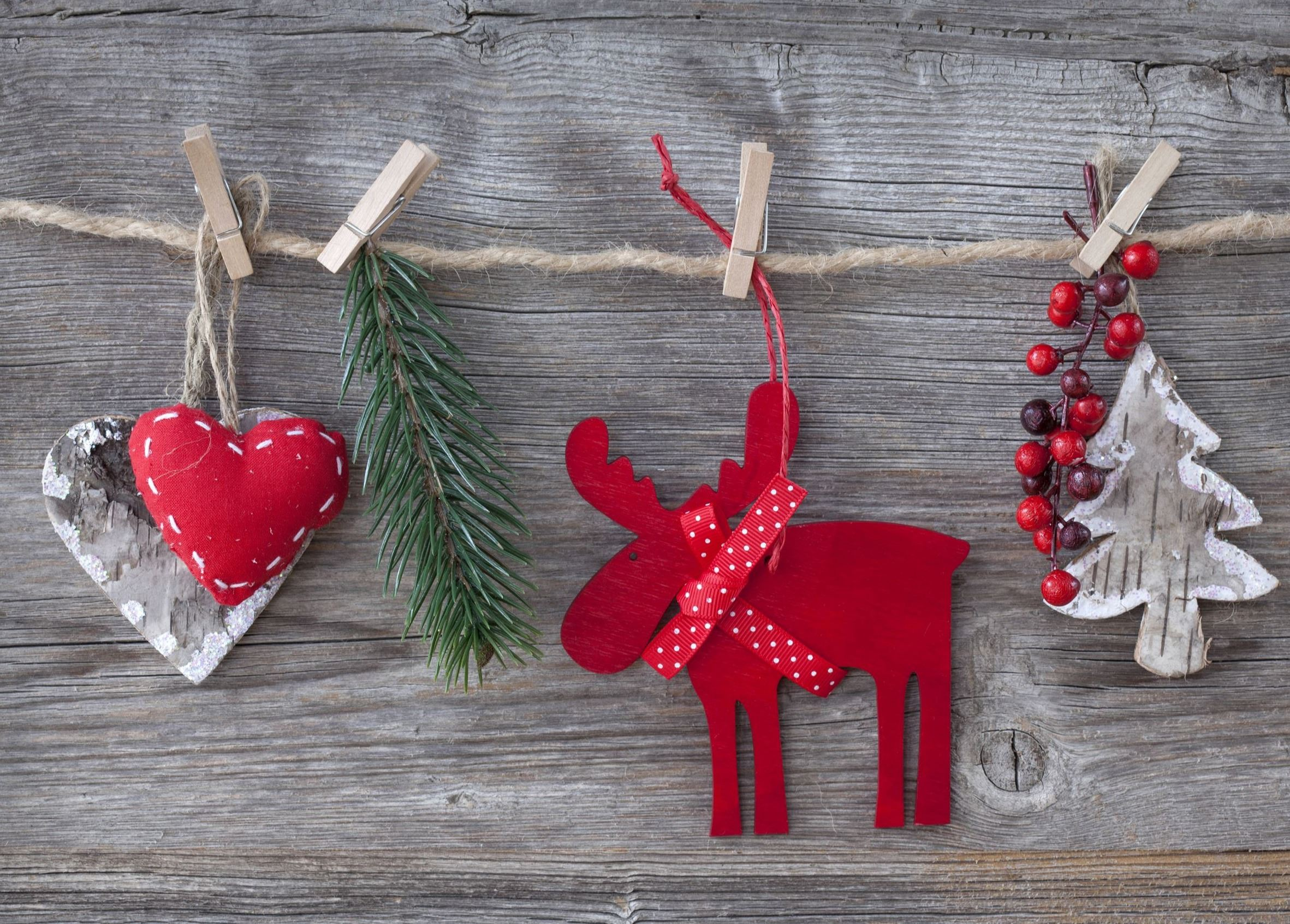 Close up of Christmas Decorations of hearts, pine branch, reindeer, berries, and Christmas tree