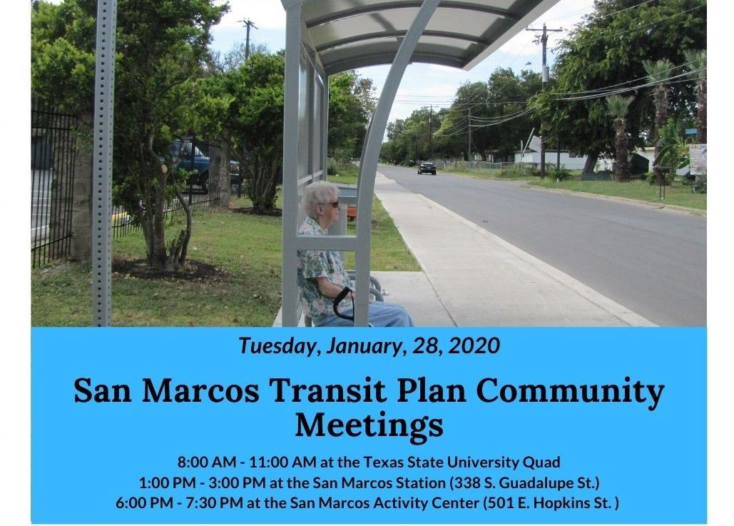 Graphic featuring text information for Transit Community Meetings over a photo of a bus stop