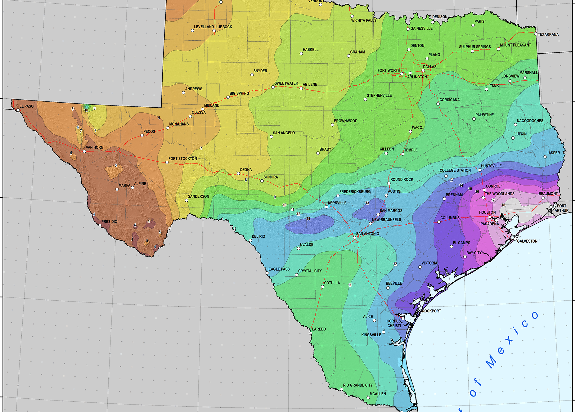 Cartographic of Texas showing new rainfall values for 100y-24h event-NOAA_0