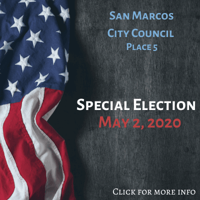 American flag on dark background with May 2 election information