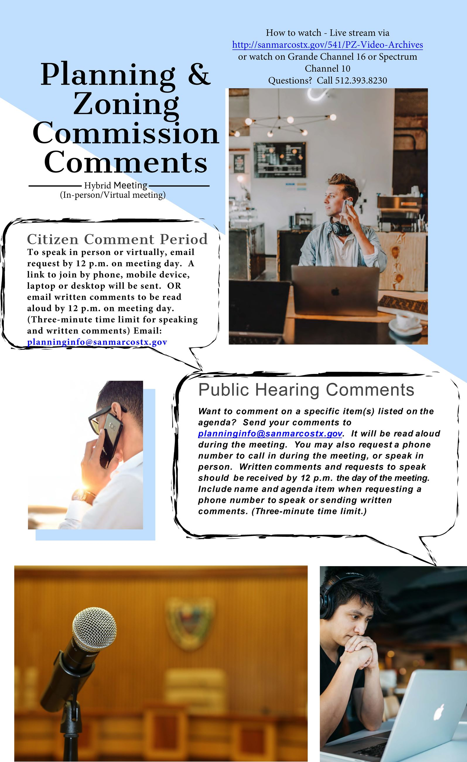 Planning and Zoning Commission Virtual Meeting Comment Flyer