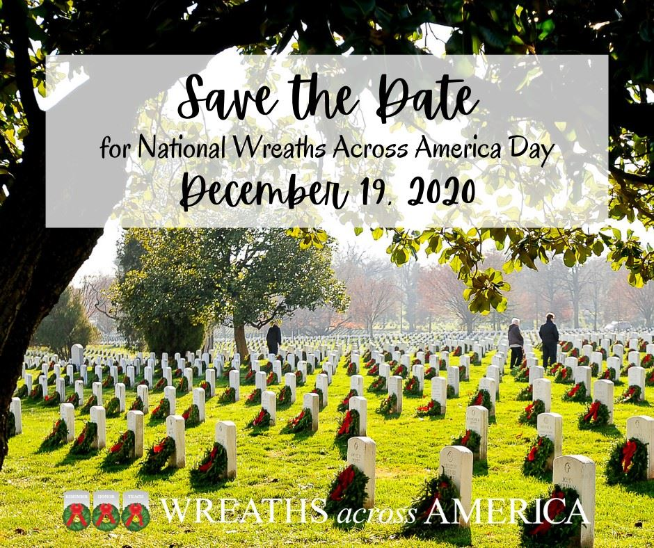 Save the Date Wreaths Across America December 19, 2020 text on background of military cemetery
